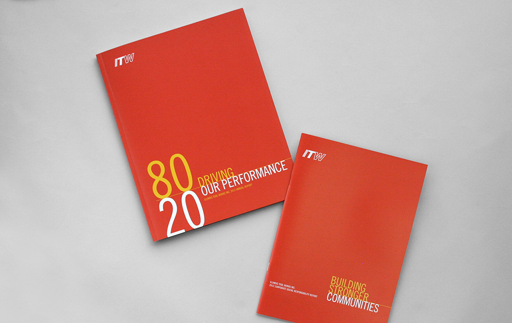 Annual report design featuring company's core principles