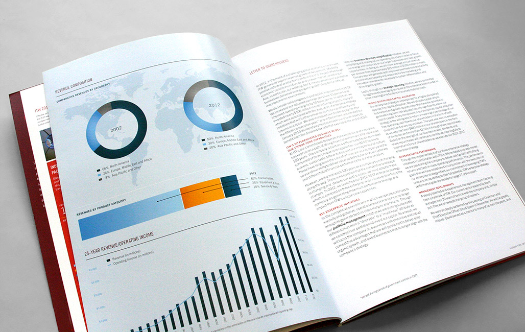 Annual report design using infographics to display financial data makes information easy to visualize.