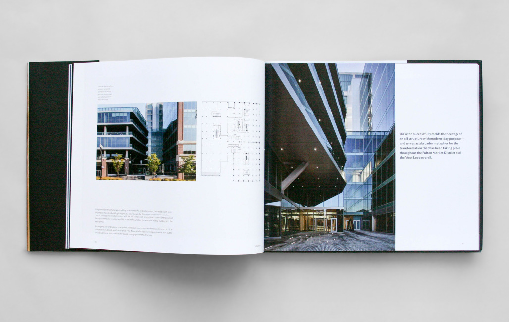 Interior spread of monograph by Smith Design Co, Evanston